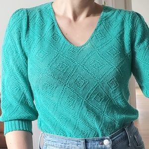 Vintage Green Diamond Pointelle Sweater